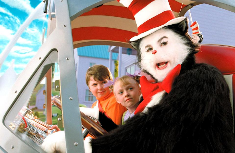 """<p><strong>Netflix's Description:</strong> """"While Mom is away, a bored little boy and girl are visited by the Cat in the Hat, who proceeds to turn the house into the 'mother of all messes.'""""</p> <p><a href=""""https://www.netflix.com/title/60031264"""" class=""""link rapid-noclick-resp"""" rel=""""nofollow noopener"""" target=""""_blank"""" data-ylk=""""slk:Stream The Cat in the Hat on Netflix!"""">Stream <strong>The Cat in the Hat</strong> on Netflix!</a></p>"""