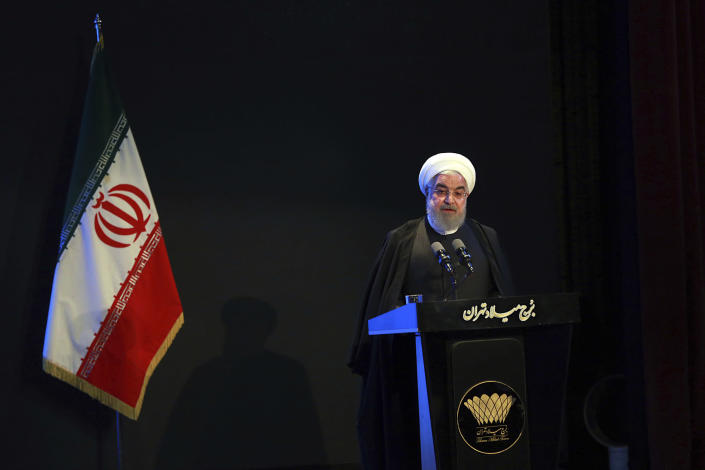 In this photo released by the official website of the Office of the Iranian Presidency, President Hassan Rouhani speaks in a meeting in Tehran, Iran, Wednesday, Dec. 4, 2019. Rouhani says Tehran hasn't closed the window on talks with the U.S. but reiterated his government's standing condition that the Trump administration lift sanctions imposed on Iran before any negotiations can take place. (Iranian Presidency Office via AP)