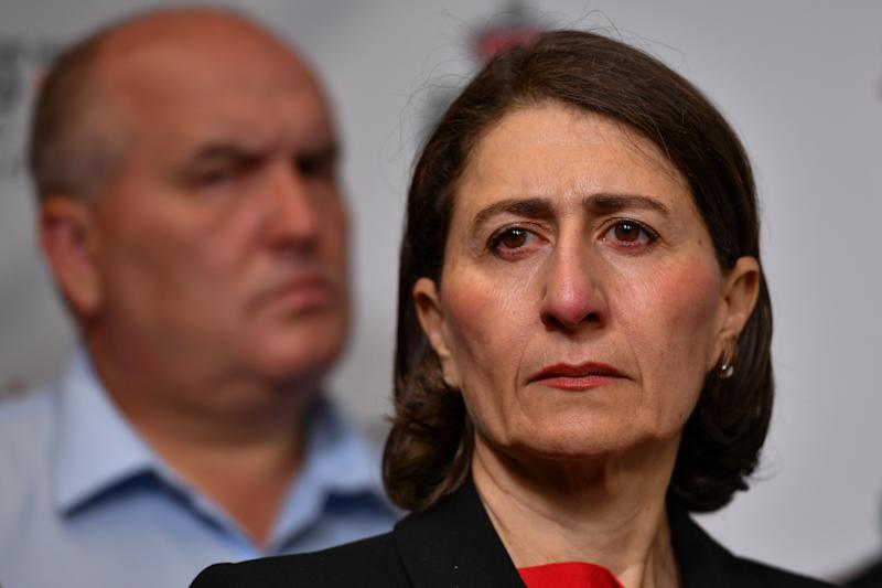 NSW Emergency Services Minister David Elliott and NSW Premier Gladys Berejiklian during a press conference at Rural Fire Service (RFS) Headquarters in Sydney, January 5. Source: AAP Image/Paul Braven