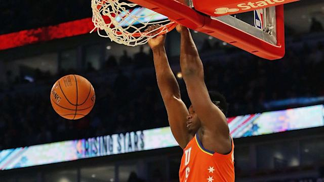 The backboard and rim needed to be re-aligned after a two-handed slam from Zion Williamson in the Rising Stars Challenge.