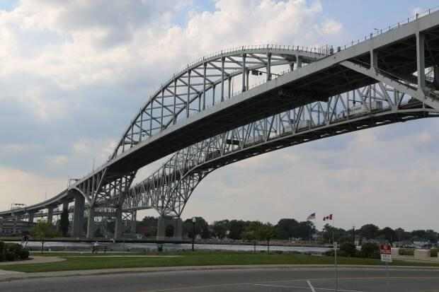 The Blue Water Bridge connects Point Edward, Ont. (near Sarnia, Ont.) to Port Huron, Mich. (Jonathan Pinto/CBC - image credit)