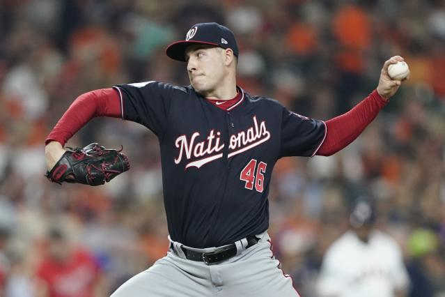 Washington Nationals relief pitcher Patrick Corbin throws during the sixth inning of Game 1 of the baseball World Series against the Houston Astros Tuesday, Oct. 22, 2019, in Houston. (AP Photo/David J. Phillip)