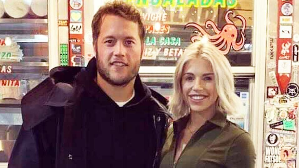 Kelly Stafford (pictured right), with husband and Lions quarterback Matthew Stafford (pictured left).
