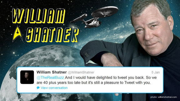 "On Jan. 3, 2013, Commander Chris Hadfield of the Canadian Space Agency started tweeting with William Shatner, ""Captain Kirk"" of the original Star trek series, and with other Star Trek cast members, plus one very famous real spaceflyer."