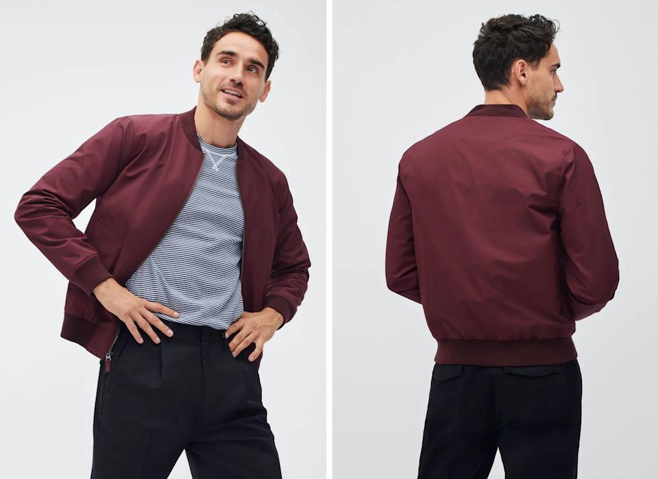 """The Boulevard bomber jacket from <a href=""""https://bonobos.com/products/the-boulevard-bomber?color=burgundy"""" target=""""_blank"""" rel=""""noopener noreferrer"""">Bonobos</a>, $169. (Photo: <a href=""""https://bonobos.com/products/the-boulevard-bomber?color=burgundy"""" target=""""_blank"""">Bonobos</a>)"""