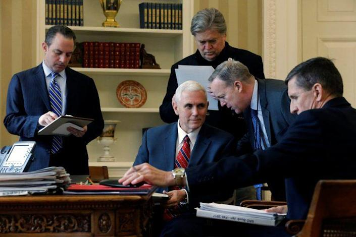 President Trump's inner circle, left to right: White House chief of staff Reince Priebus, Vice President Mike Pence, senior adviser Steve Bannon, press secretary Sean Spicer and National Security Adviser Michael Flynn. (Photo: Jonathan Ernst/Reuters)