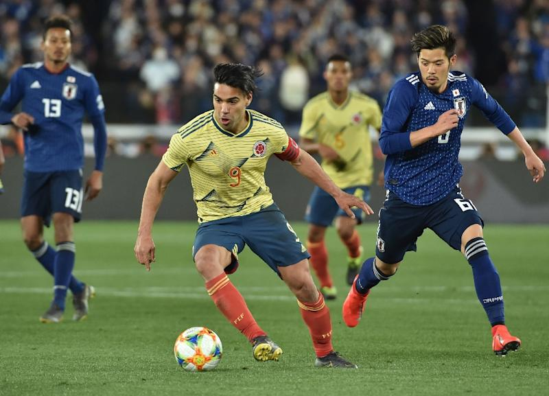 Colombia's forward Radamel Falcao scored in the 64th minute in Yokohama, providing Colombia with some crumbs of comfort after they were stunned 2-1 by the Blue Samurai at last year's World Cup in Russia