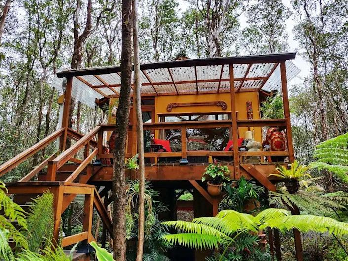 """<p><strong>Volcano, Hawaii</strong></p> <p>What better place to catch a nap during the day than on an eight-foot teak daybed surrounded by trees? The bathroom in this Bali-inspired treehouse retreat is equipped with a solar-powered outdoor shower, bamboo walls, and decorative plants for the ultimate get-clean experience.</p> $124, Airbnb. <a href=""""https://www.airbnb.com/rooms/20151984"""" rel=""""nofollow noopener"""" target=""""_blank"""" data-ylk=""""slk:Get it now!"""" class=""""link rapid-noclick-resp"""">Get it now!</a>"""