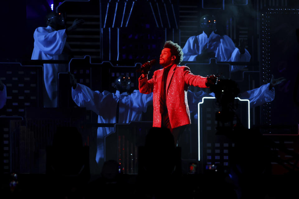 The Weeknd performs at the Pepsi Halftime Show during the NFL Super Bowl 55 football game between the Kansas City Chiefs and Tampa Bay Buccaneers, Sunday, Feb. 7, 2021, in Tampa, Fla. (Ben Liebenberg via AP)