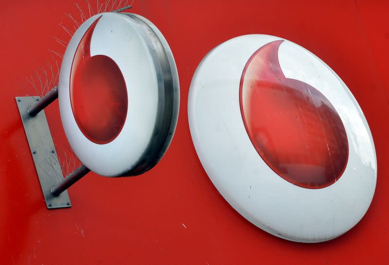 FILE PHOTO: Vodafone branding is seen outside a retail store in London