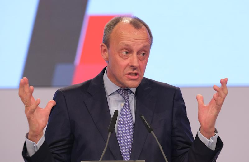 LEIPZIG, GERMANY - NOVEMBER 22: Friedrich Merz, politician of the German Christian Democrats (CDU), speaks at the 32nd federal congress of the German Christian Democrats (CDU) on November 22, 2019 in Leipzig, Germany. The CDU is meeting in the wake of a year in which Angela Merkel, who led the party for 18 years, stepped down and Annegret Kramp-Karrenbauer was elected new party leader. The CDU fared poorly in several state elections. Many question whether Kramp-Karrenbauer was the right choice and whether she is a viable candidate to become a future German chancellor. (Photo by Sean Gallup/Getty Images)