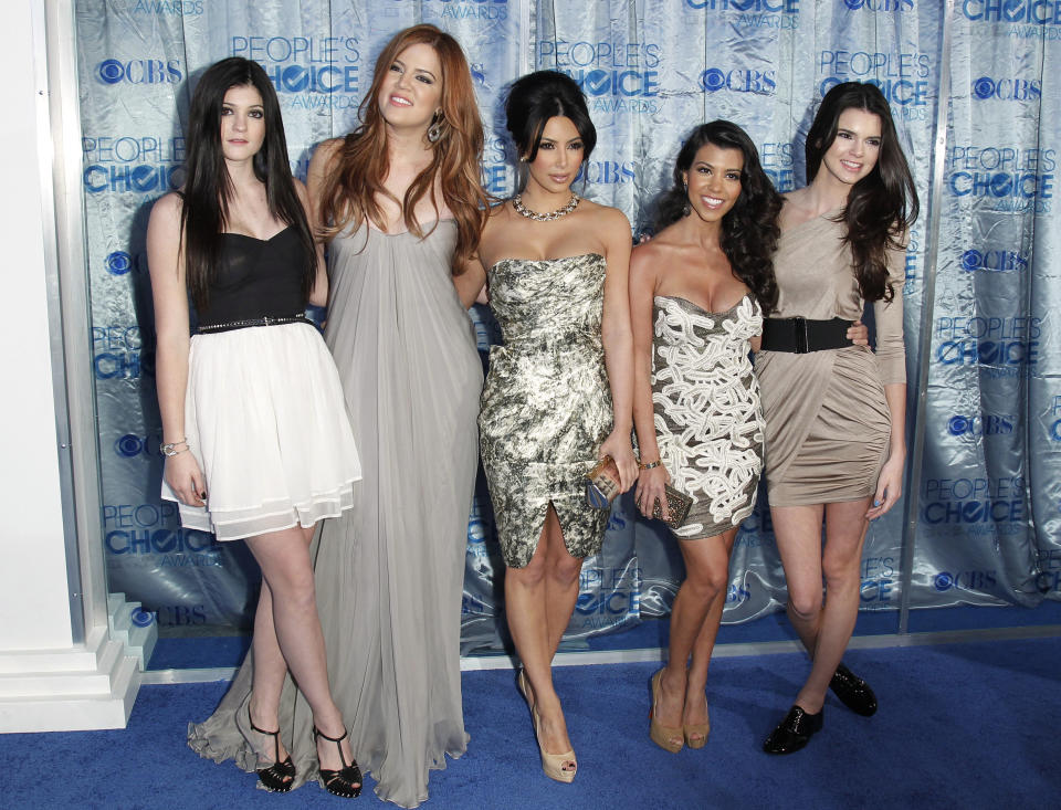 Kendall and Kylie Jenner with Kim, Kourtney and Khloe Kardashian at a People's Choice event. Source: Reuters