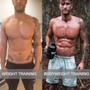 """<p><strong>You'll need: Floor space</strong><br></p><p>This is an EMOM (Every Minute on the Minute) workout, so once you've completed your reps of a particular exercise you have the remainder of the minute to rest. The quicker you complete the exercises, the longer you'll have to rest. So, for example, if it takes you 40 seconds to perform 10 <a href=""""https://www.menshealth.com/uk/fitness/a758385/the-two-moves-that-will-keep-you-fit-for-life/"""" rel=""""nofollow noopener"""" target=""""_blank"""" data-ylk=""""slk:burpees"""" class=""""link rapid-noclick-resp"""">burpees</a>, you have 20 seconds rest until you start 30 reps of supine toe touches. However, minute 7 is a complete minute of rest. Go round three times.</p><p><strong>Minute 1: Burpees, 10 Reps</strong><br>From a standing position squat down until your thighs are parallel to the floor and place your palms on the floor. From there kick your feet back as far as you can while keeping your arms extended. As soon as your feet land, jump them back in towards your hands, then jump up into the air. Land and immediately squat down to go into the next rep.<strong><br><br>Minute 2: Supine Toe Touches, 30 Reps</strong><br>Sit on the floor with your hands planted behind your back and your legs bent in front of you. Raise your hips upwards so only your hands and feet are planted on the floor. Lift your right hand and left foot until the two meet. Return both to the ground, then lift your left hand so it touches your right toe. That's two reps.</p><p><strong>Minute 3: Shoulder Tap Press-ups, 15 Reps</strong><br>Get down into a press-up position with your hands placed shoulder-width apart and your elbows tucked in close to your body. Lower your torso, keeping your elbows close to your sides throughout, until your chest is an inch from the ground. Then explosively drive up by fully extending your arms. At the top, touch your left shoulder with your right hand. Drop back to the bottom of the move, drive back up and touch your right shoulder with you"""
