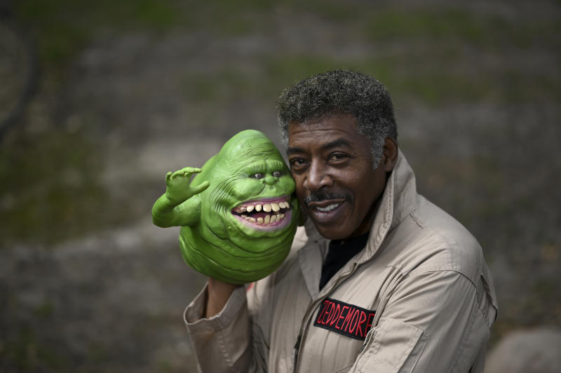 "ROBBINSDALE, MN - MAY 5: Ghostbusters co-star Ernie Hudson poses for a portrait after recording an uplifting video message for a fan in his backyard Tuesday while donning his Ghostbusters jumpsuit and a ""Slimer"" puppet. (Photo by Aaron Lavinsky/Star Tribune via Getty Images)"