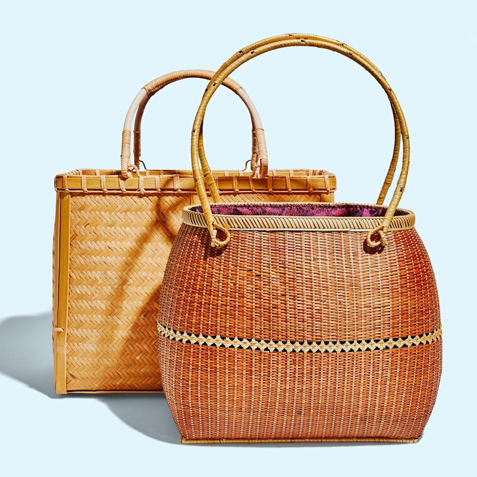 """<p>""""<strong>Zhang Xin'rong</strong> makes these sun-dried bamboo totes bag as well. In China you'd pair one with a traditional Chinese dress, or <em>qipao</em>, but on more casual days I like it with a white sundress or a t-shirt and jeans—so cute! The silk lining means you can put your wallet and phone inside. It also works great as a mini picnic basket. I once took it to Central Park packed with a blanket, a bottle of sparkling wine, cheese, and some berries.""""</p> <p><em>Buy it:</em> <a href=""""https://www.sage-collective.com/all-collections/bamboo-tote-natural"""" rel=""""nofollow noopener"""" target=""""_blank"""" data-ylk=""""slk:Bamboo Tote, $100"""" class=""""link rapid-noclick-resp""""><em>Bamboo Tote, $100</em></a></p>"""