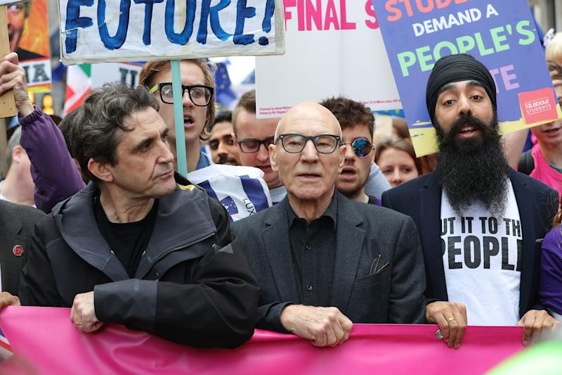 Stephen McGann (second left) and Sir Patrick Stewart (centre) join protesters in an anti-Brexit march. (Photo by Andrew Matthews/PA Images via Getty Images)