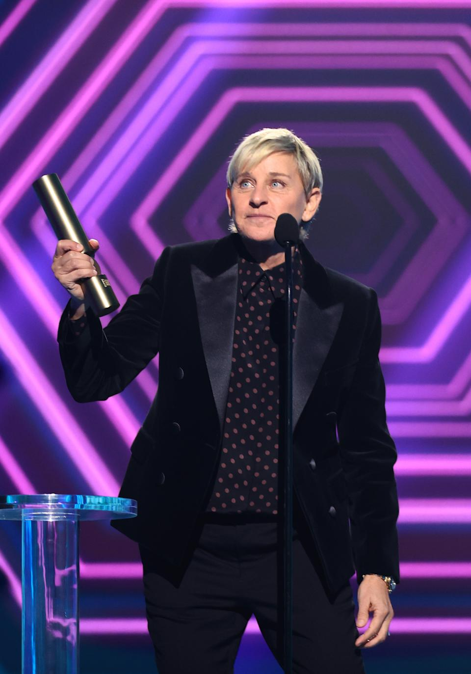 Ellen DeGeneres accepts the award for The Daytime Talk Show of 2020 onstage for the 2020 E! People's Choice Awards held at the Barker Hangar in Santa Monica, California and on broadcast on Sunday, November 15, 2020.