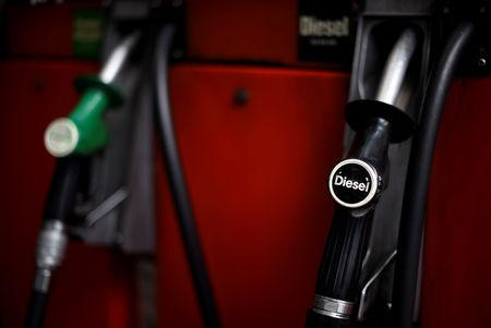 Fuel pumps are seen at a Texaco petrol station in London