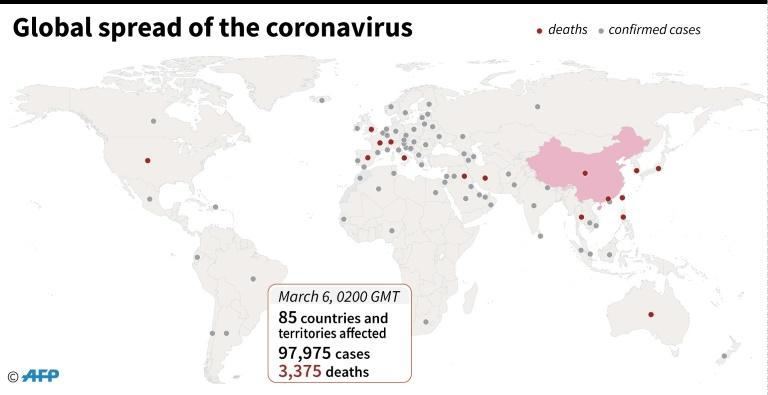 Countries and territories with confirmed cases of the new coronavirus as of March 6 at 0200 GMT