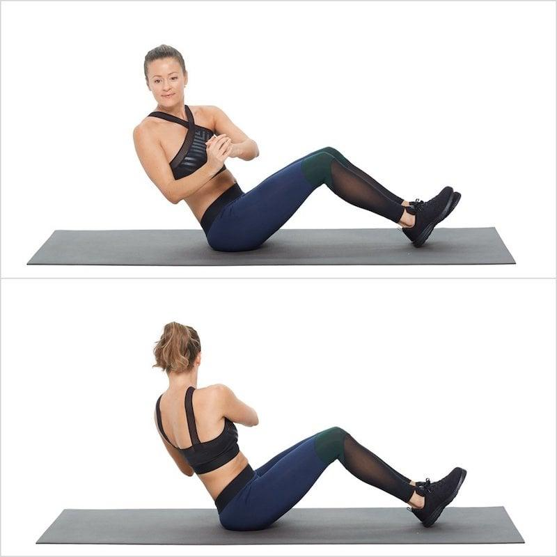 <ul> <li>Sit on the ground with your knees bent, pull your abs to your spine, and lean back a few inches while keeping your back straight.</li> <li>Hold your hand at your chest, and twist your torso to the right, then to the left to complete one rep.</li> <li>Complete 10 reps.</li> </ul>