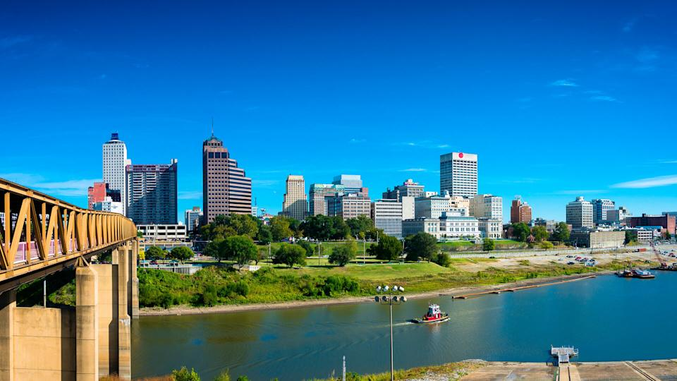Panorama of Memphis Skyline with blue sky and Mississippi river.