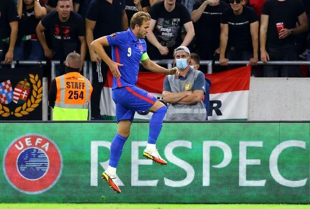 Harry Kane celebrates after doubling England's lead