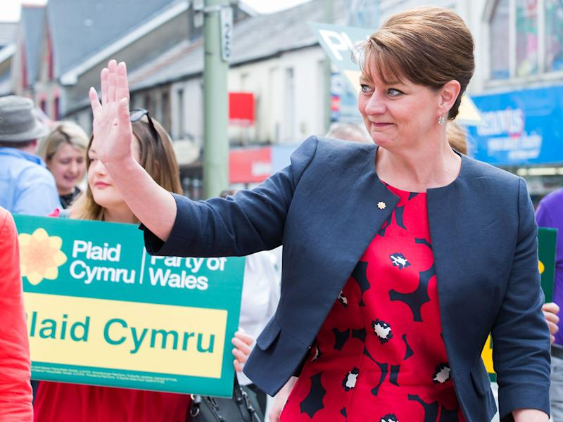 Residents of the town of Treorchy congratulate Leanne Wood after she seized the Rhondda seat from Labour in the Welsh Assembly: Rex