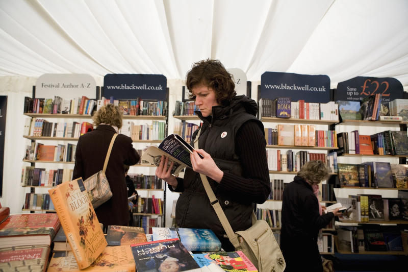 "OXFORD, UNITED KINGDOM - MARCH 23: People browse in the bookshop at the annual ""Sunday Times Oxford Literary Festival"" held at Christ Church on March 23, 2007 in Oxford, United Kingdom. (Photo by David Levenson/Getty Images)"