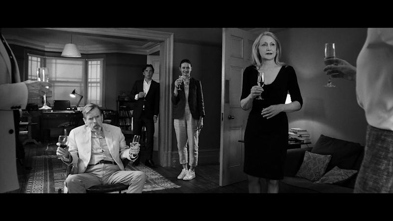 Timothy Spall as Bill, Cillian Murphy as Tom, Emily Mortimer as Jinny and Patricia Clarkson as April in 'The Party'