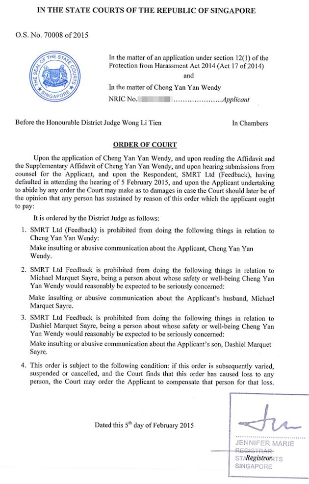 The first page of a Protection Order obtained by blogger Wendy Cheng against SMRT Ltd (Feedback), uploaded by Cheng on her blog. [Click for larger version]