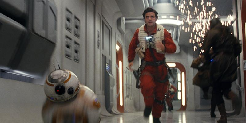"""This image released by Lucasfilm shows Oscar Isaac as Poe Dameron in a scene from the upcoming """"Star Wars: The Last Jedi,"""" expected in theaters in December. (Industrial Light & Magic/Lucasfilm via AP)"""