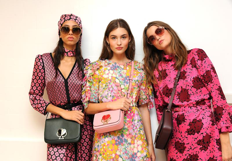 NEW YORK, NY - SEPTEMBER 07: Models pose backstage for the Kate Spade New York Fashion Show during New York Fashion Week at New York Public Library on September 7, 2018 in New York City. (Photo by Desiree Navarro/WireImage)