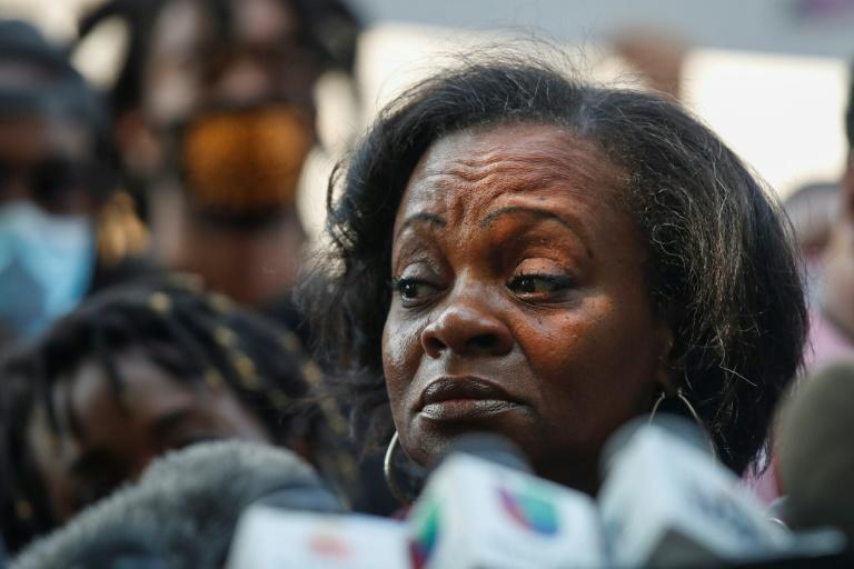 Julia Jackson, mother of Jacob Blake, speaks in Kenosha, Wisconsin on August 25 to call for calm after her son was shot in the back by a white police officer