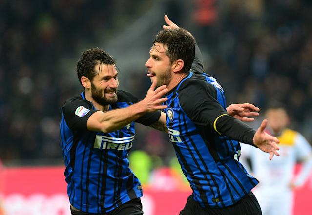 Soccer Football - Serie A - Inter Milan vs Benevento Calcio - San Siro, Milan, Italy - February 24, 2018 Inter Milan's Andrea Ranocchia celebrates scoring their second goal REUTERS/Massimo Pinca