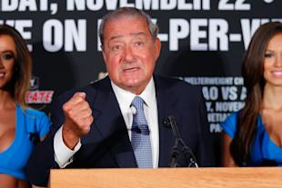 Who's to blame for the tickets not being on sale yet? Bob Arum is putting it on adviser Al Haymon. (Getty)