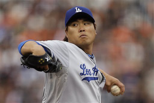 Los Angeles Dodgers' Hyun-Jin Ryu, of South Korea, works against the San Francisco Giants in the first inning of a baseball game, Sunday, May 5, 2013, in San Francisco. (AP Photo/Ben Margot)