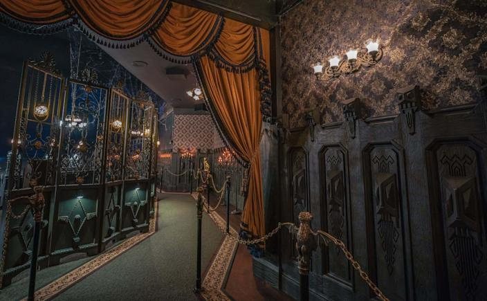 A look inside the updated hallway of Disneyland's Haunted Mansion.