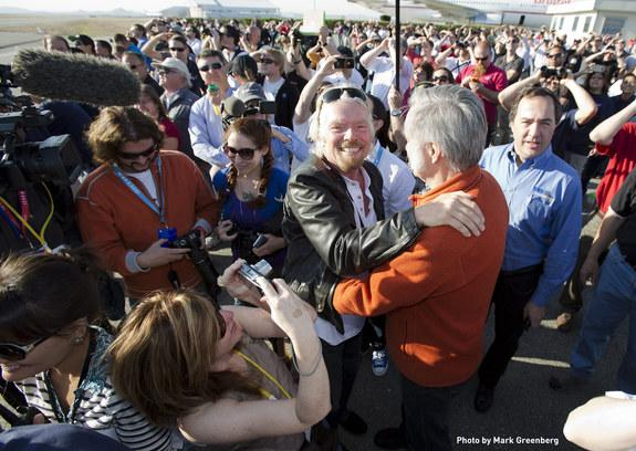 Sir Richard Branson & Burt Rutan share a moment after the success of Virgin Galactic's SpaceShipTwo breaking the speed of sound, on April 29, 2013, in the Mojave Desert.