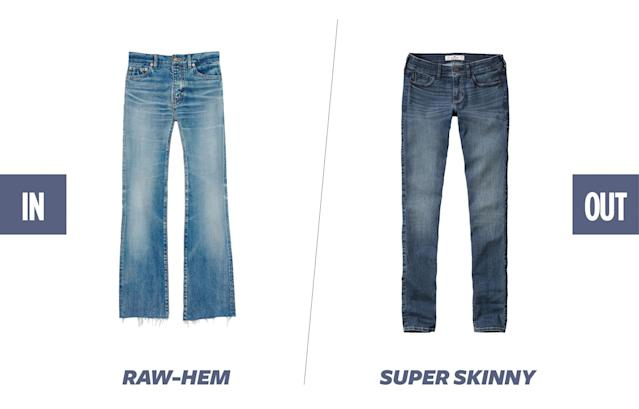 "<p>The ""Vetements-effect"" cultivated by Demna Gvasalia's ubiquitous asymmetrical-hem jeans are still in full force. You will continue to see raw-hem-style jeans and DIY jagged hems all over this summer. (Photos: Saint Laurent; Hollister) </p>"