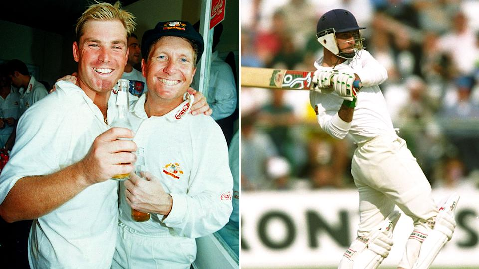 Ian Healy and Shane Warne celebrate Australia's Ashes victory over Graham Thorpe's England.