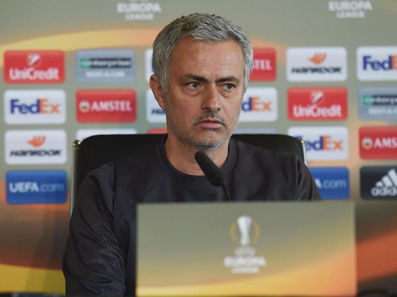 Mourinho speaking at his weekly press conference (Getty)