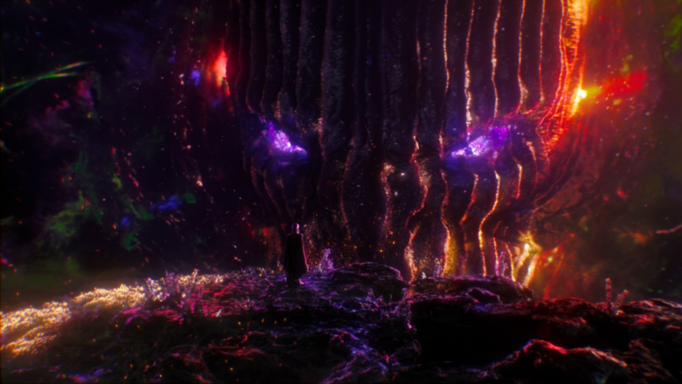 A giant interdimensional monster with a face full of lines and dark colors lives in Marvel's multiverse