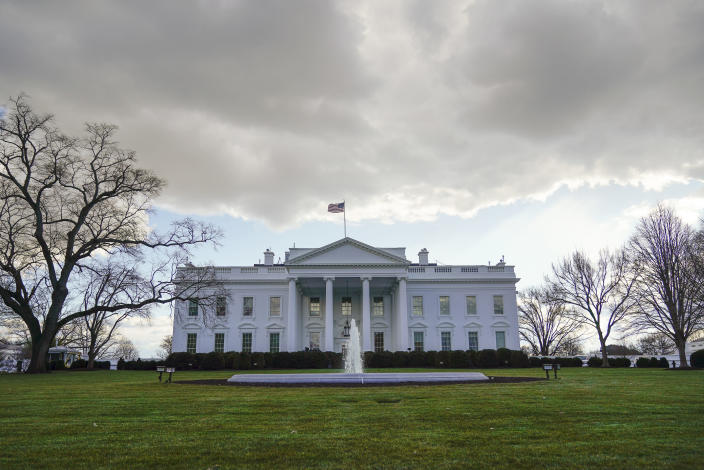 Clouds form over the White House in Washington, Monday, Jan. 18, 2021. (AP Photo/Pablo Martinez Monsivais)