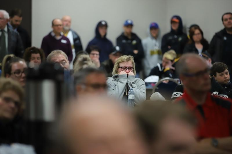 <p>Some people are unable to hide their emotions during a news conference at the Humboldt Uniplex in Humboldt, Sask. Photo from Getty Images. </p>