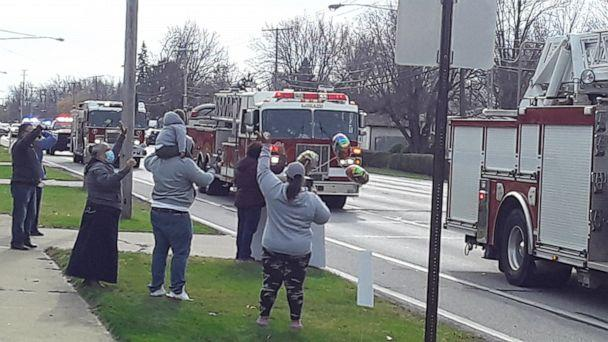 PHOTO: Lorain Professional Firefighters Local 267 driving by in firetrucks. (Mitchell Fallis/Lorain Fire Department)