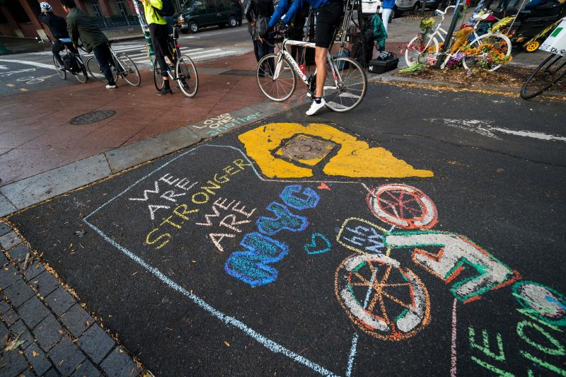 A chalked message on the bike path pays tribute to the victims of the Oct. 31 attack in lower Manhattan. (JEWEL SAMAD via Getty Images)