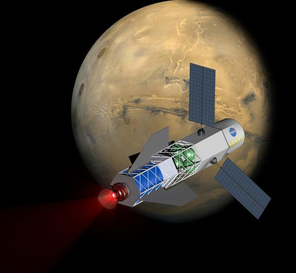 A concept image of a spacecraft powered by a fusion-driven rocket. In this image, the crew would be in the forward-most chamber. Solar panels on the sides would collect energy to initiate the process that creates fusion.