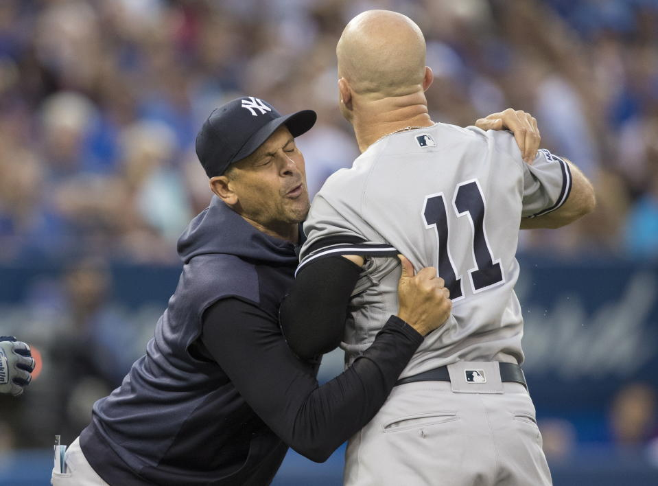 Yankees manager Aaron Boone and outfielder Brett Gardner were involved in another heated confrontation with an umpire. (Fred Thornhill/The Canadian Press via AP)