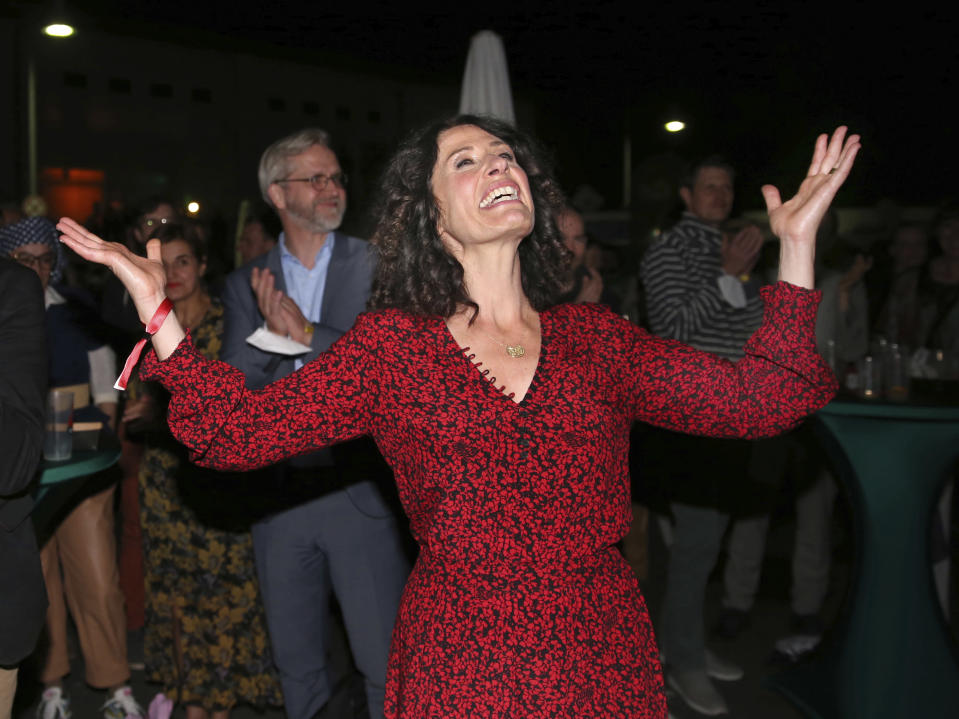 Berlin mayoral candidate Bettina Jarasch of the Green Party reacts as she arrives at an election party in Berlin after parliamentary elections Sunday Sept. 26, 2021. (Christoph Soeder/dpa via AP)