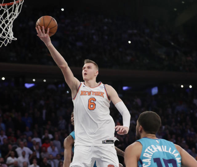 "<a class=""link rapid-noclick-resp"" href=""/nba/players/5464/"" data-ylk=""slk:Kristaps Porzingis"">Kristaps Porzingis</a> is driving and thriving, and about a million other things Clyde Frazier says. (AP)"